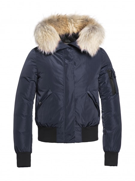 BOMBA fur jacket dark navy